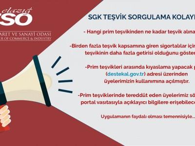 SGK Teşvik Sorgulama Kolaylığı a